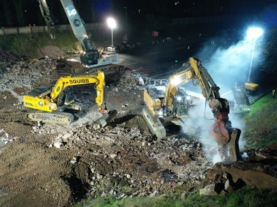 WATCH: M6 bridge demolished in Stafford during overnight works