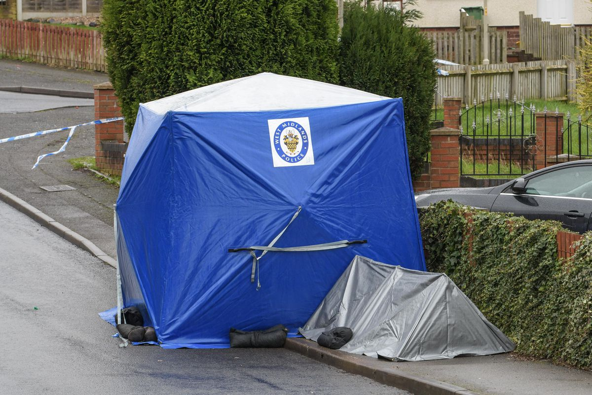 A forensic tent on Wilson Road. Photo: SnapperSK