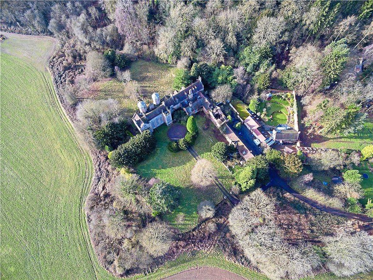 A aerial view of the hall the brothers bought for £800,000