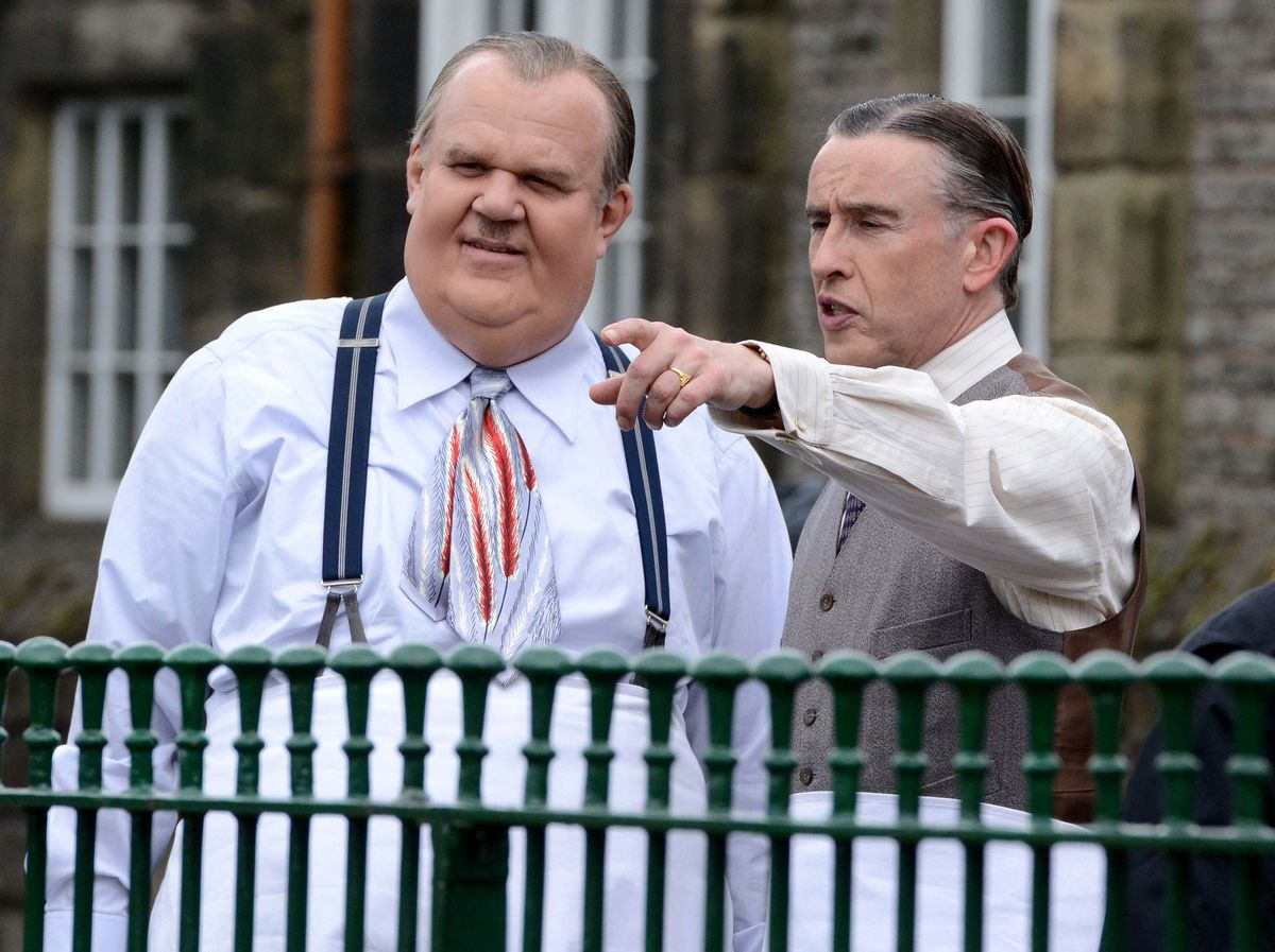 Steve Coogan and John C Reilly filming 'Stan and Ollie' at the Black Country Living Museum
