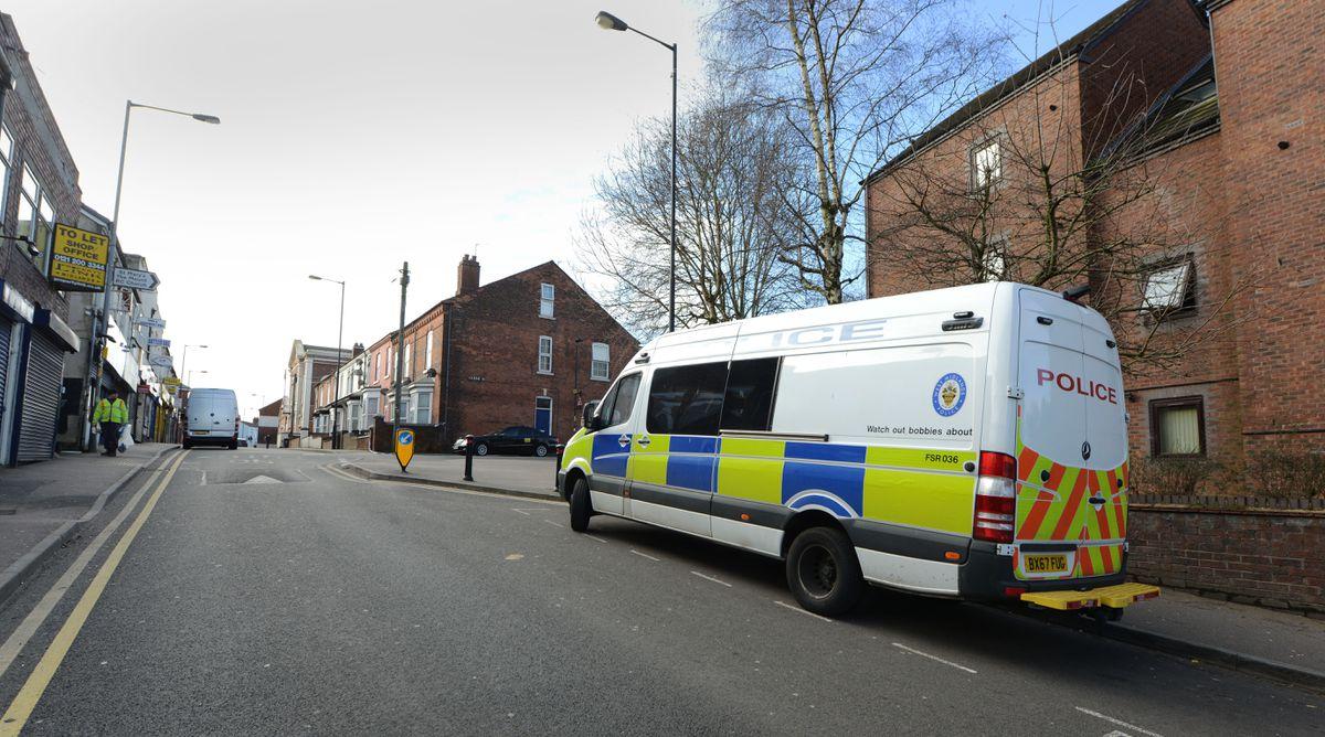 The scene in Caldmore Road, Walsall