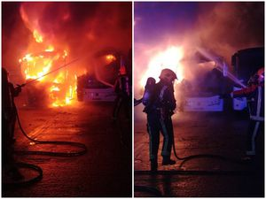 The flames wreck the coaches at Fastline Travel. Pictures: West Midlands Fire Service/Walsall Fire Station
