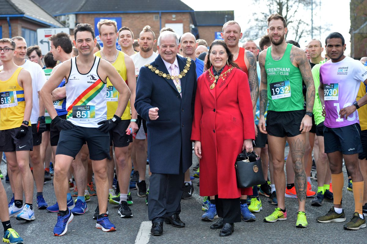 Mayor and mayoress of Stafford, Ray and Jenny Barron were on hand to start the race