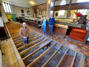 The Rev James Treasure oversees the work done so far at Top Church with Community Minister Kath Poole and Operations Director Nathan Conway