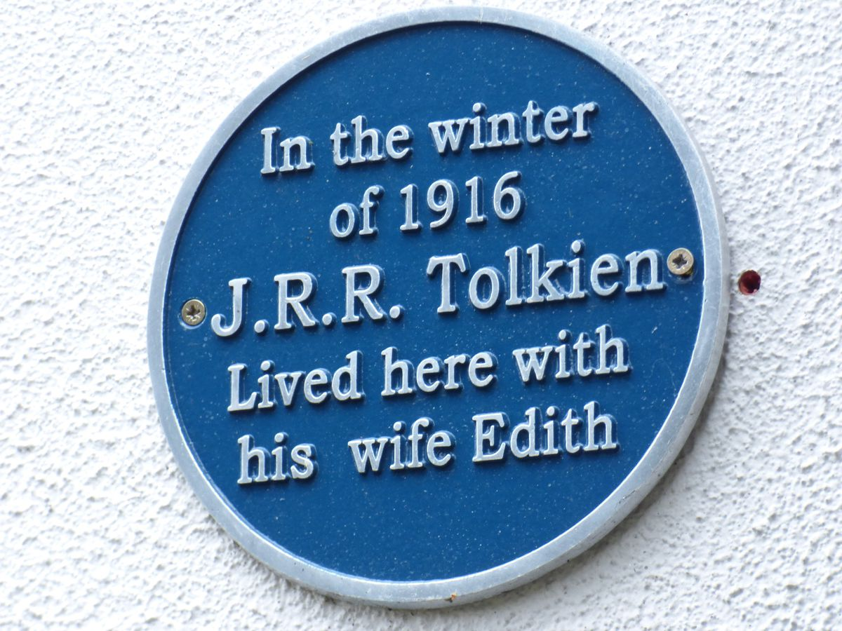 A blue plaque on the outside wall of the cottage sets out its historic links with the Lord of the Rings author
