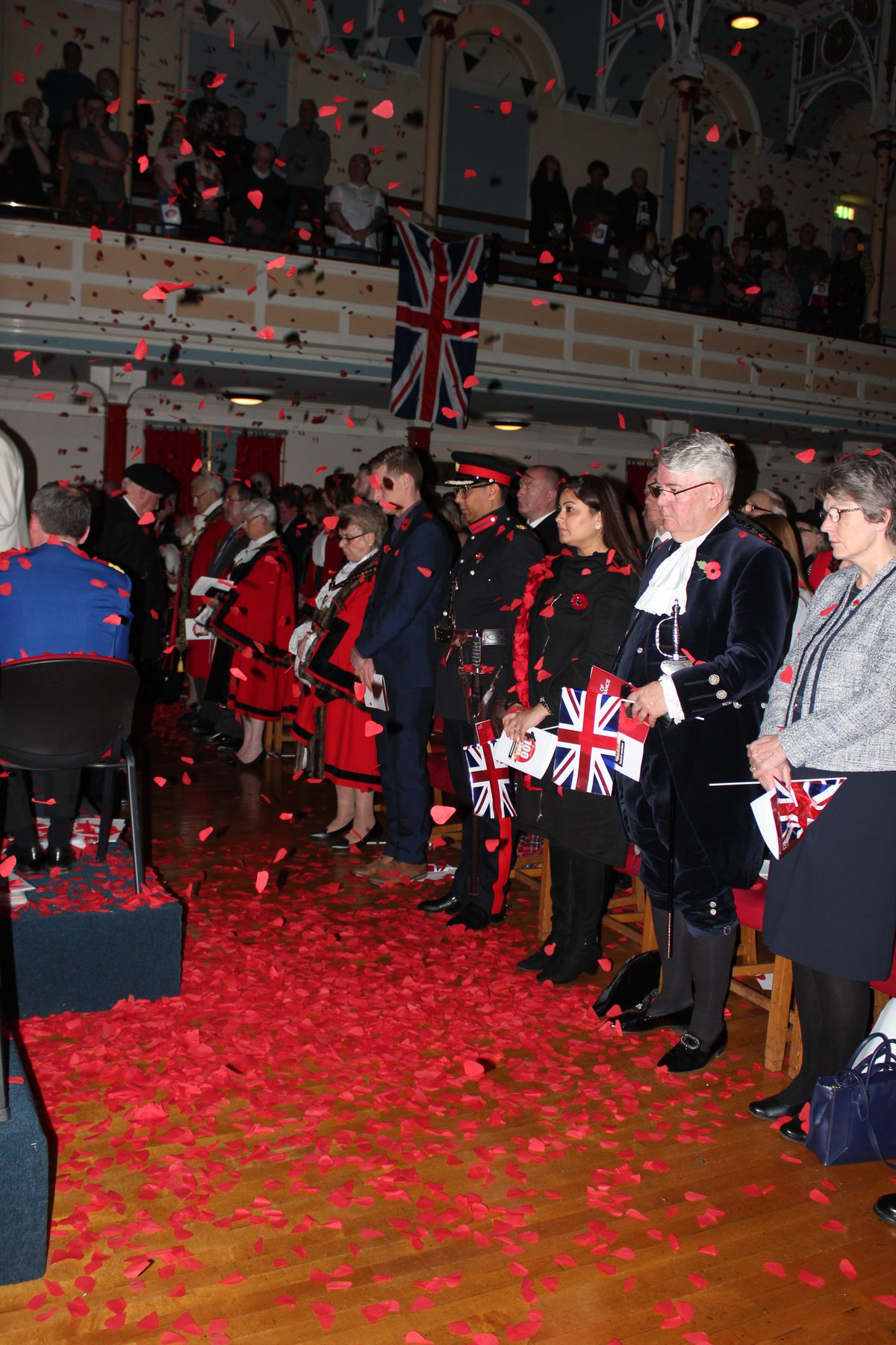 The 'poppy drop' at West Bromwich Town Hall