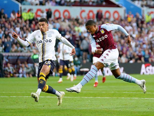 Aston Villa's Leon Bailey scores their side's third goal