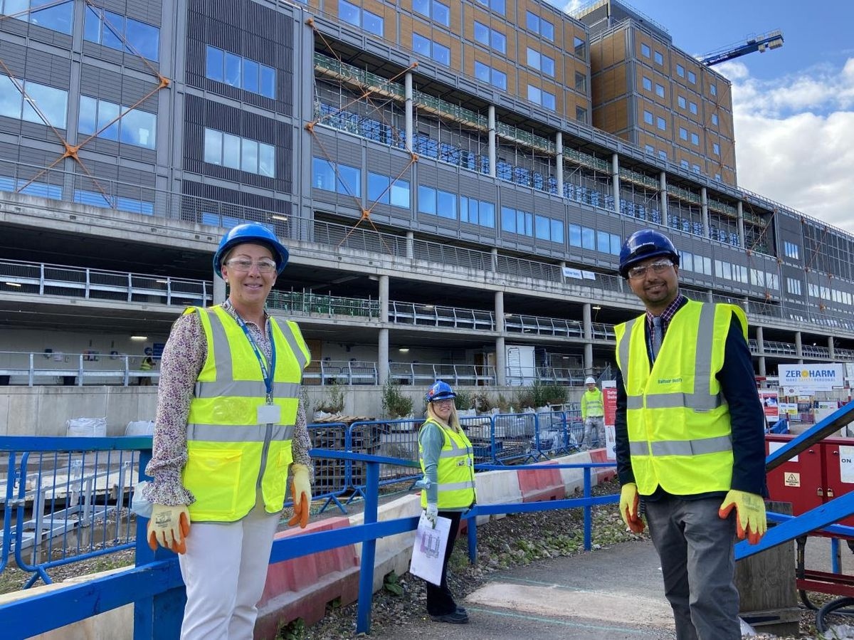 Rachel Barlow, director of system transformation, and Emma Loosley, senior commissioning manager – both of Sandwell and West Birmingham Hospitals NHS Trust – and Councillor Rajbir Singh outside the Midland Metropolitan University Hospital