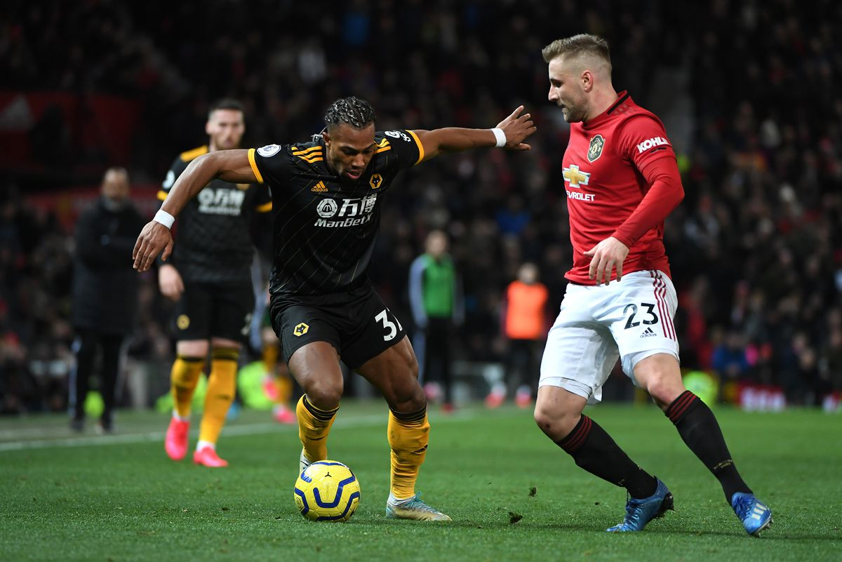 Adama Traore of Wolverhampton Wanderers and Luke Shaw of Manchester United (AMA)