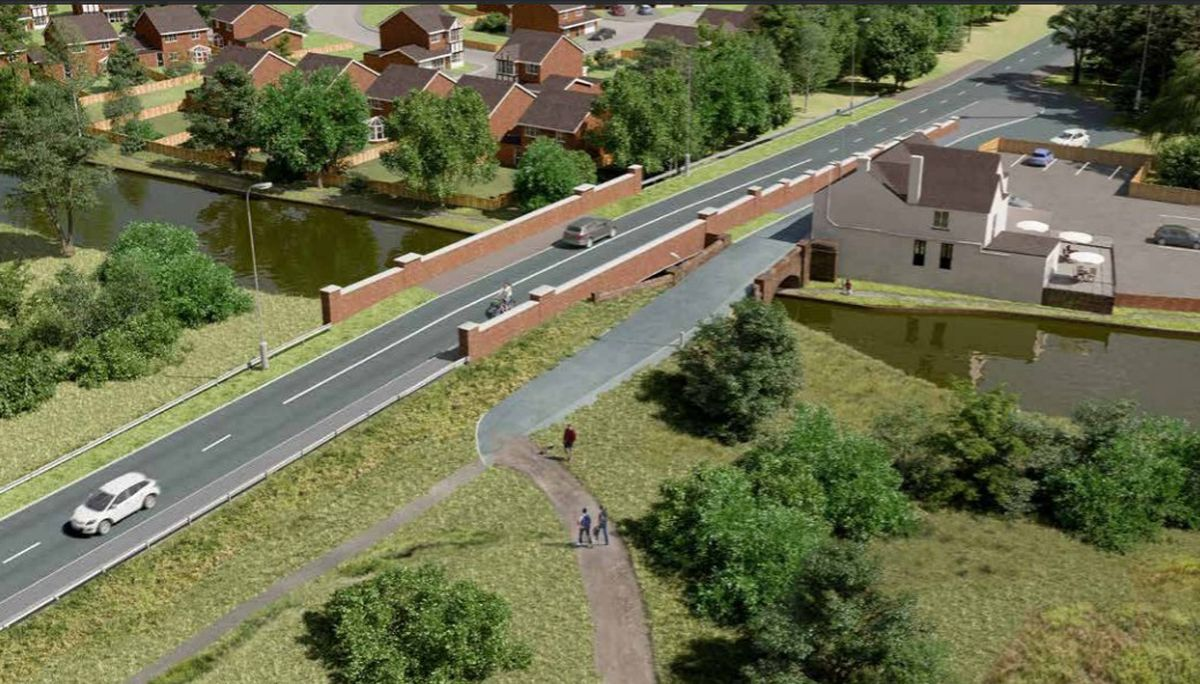 An artist's impression showing the proposed new bridge next to the existing structure