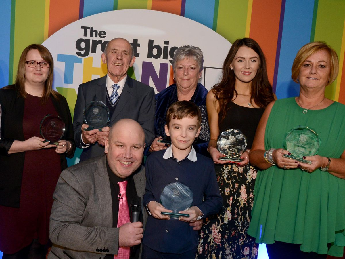 The eight winners of the Great Big Thank You Awards, with Dicky Dodd