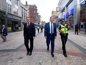 Sir Keir Starmer in Wolverhampton city centre with Shadow Home Secretary Nick Thomas-Symonds and Pc Abigail Chandler