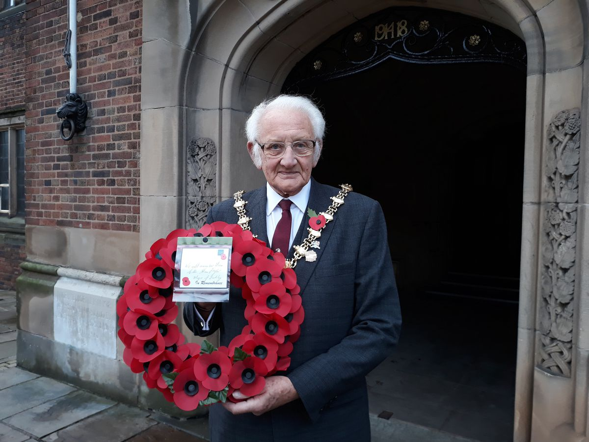 Mayor of Dudley Councillor Alan Taylor  laid a wreath at the Clock Tower in Dudley ahead of this Sunday's Remembrance service and parade