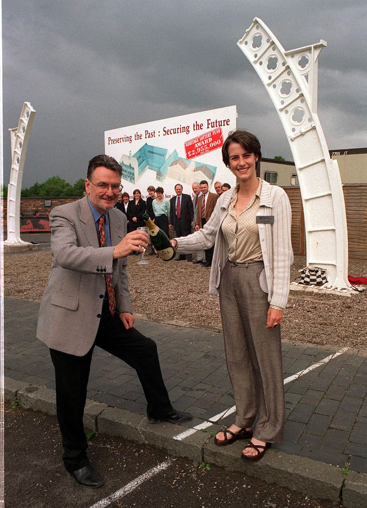 Then museum director Ian Walden and Katie Norgrove, case officer for the Heritage lottery fund, celebrating the £2.9 million lottery grant to the Black Country Living Museum, Dudley, in 1998 to finance the Rolfe Street baths project