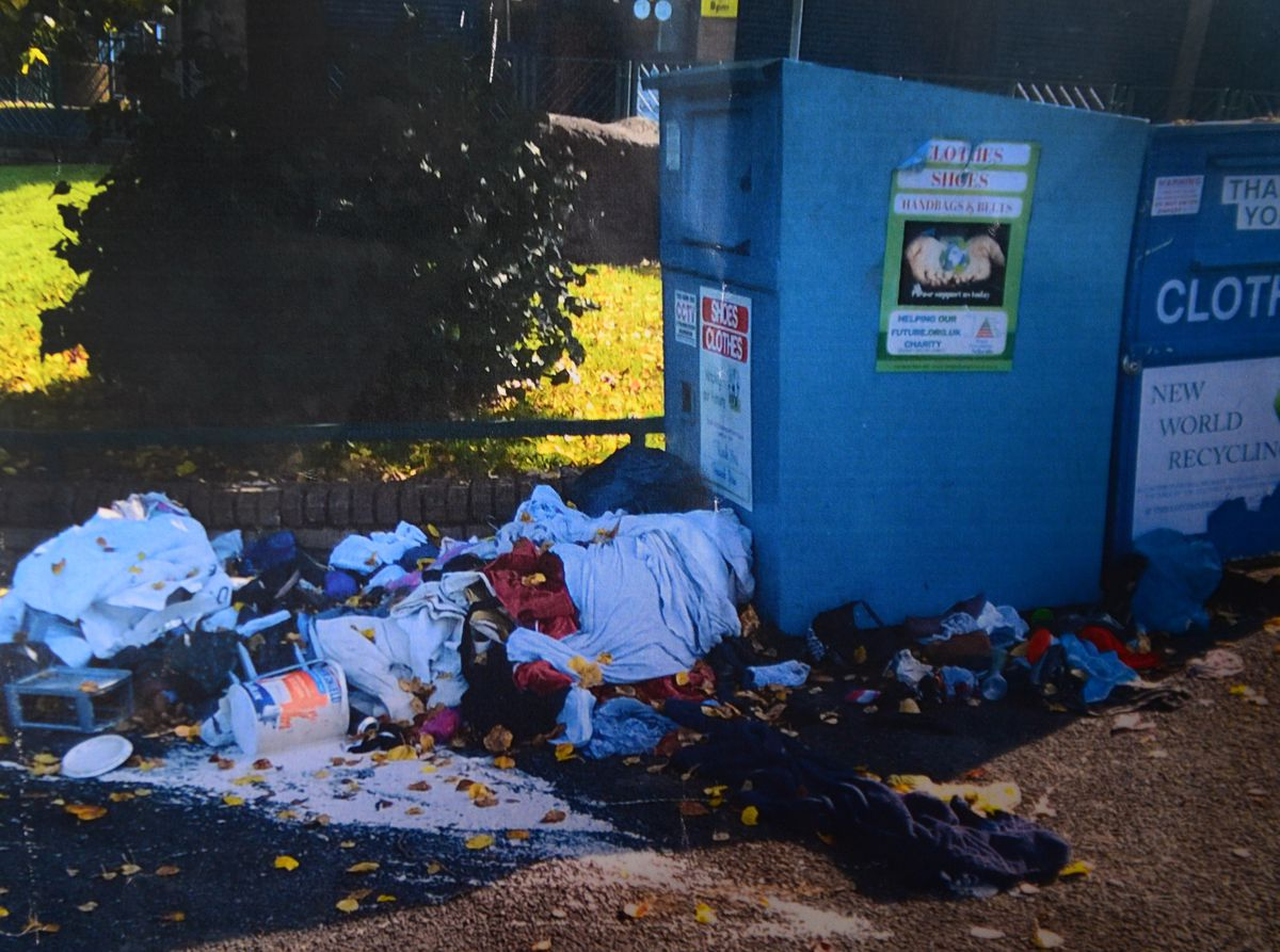 Piles of rubbish have been left on the floor