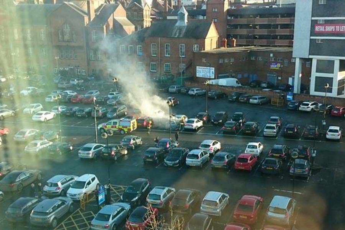 PICTURED: Firefighters tackle car blaze in Wolverhampton city centre car park