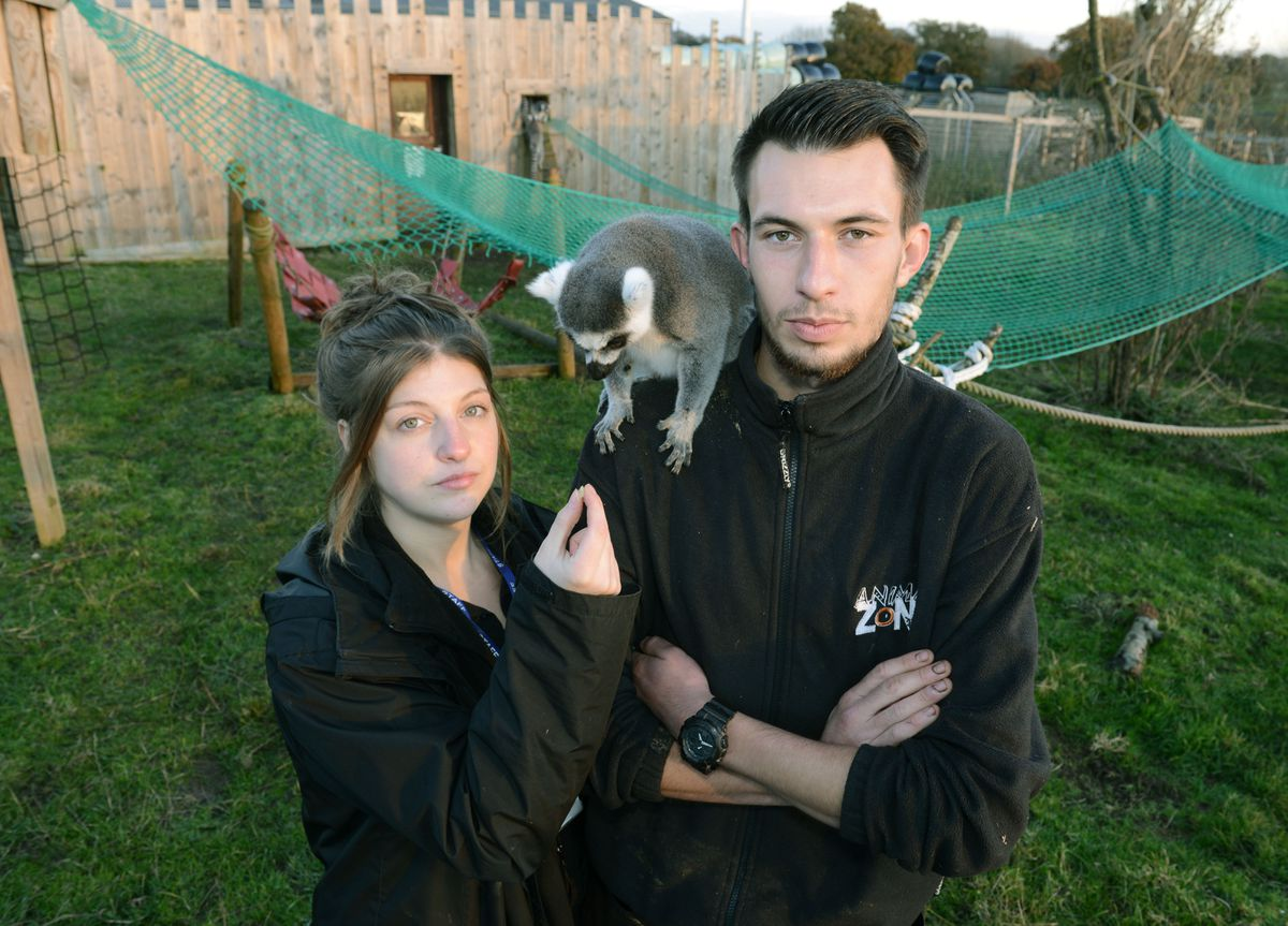 Zookeepers Chloe Southan and Andy Cooper at Rodbaston Animal Zone