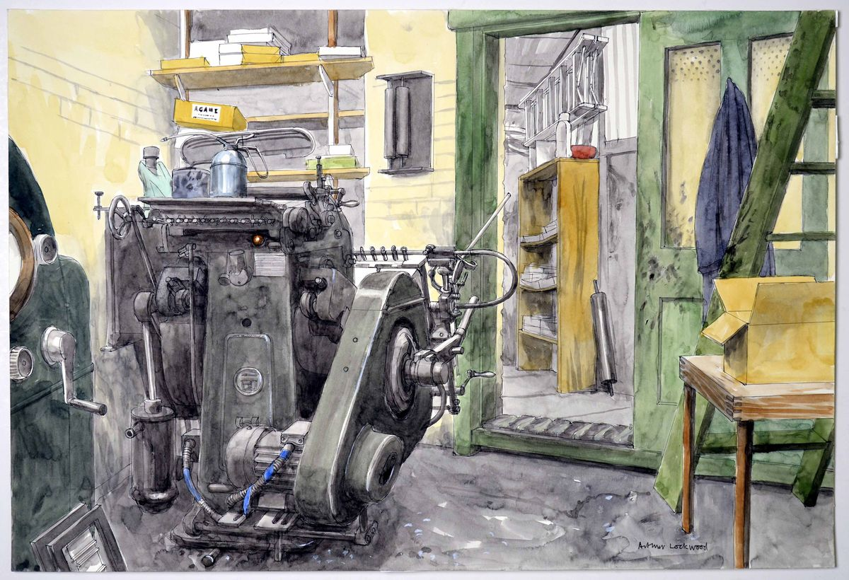 A jobbing printer at John Neave in Wolverhampton, pictured 2007