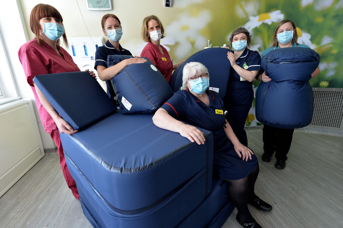 Pictured, matron Maggie Coleman with the team in a birthing room