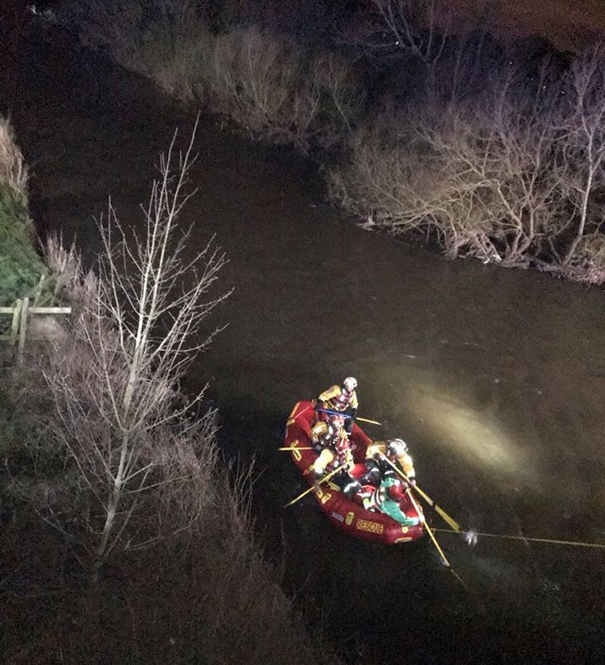 A search of the water, off the A51 in Rugeley, was carried out using fire and rescue boats. Photo: Cannock Police
