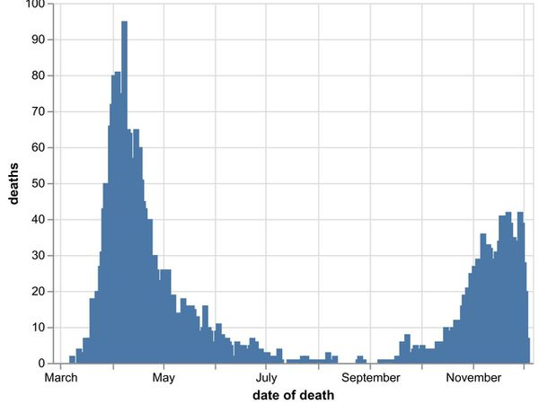 The daily number of coronavirus deaths at hospitals in the Black Country, Birmingham and Staffordshire as of December 4. By date of death, not the date the death was announced. Data: NHS England.