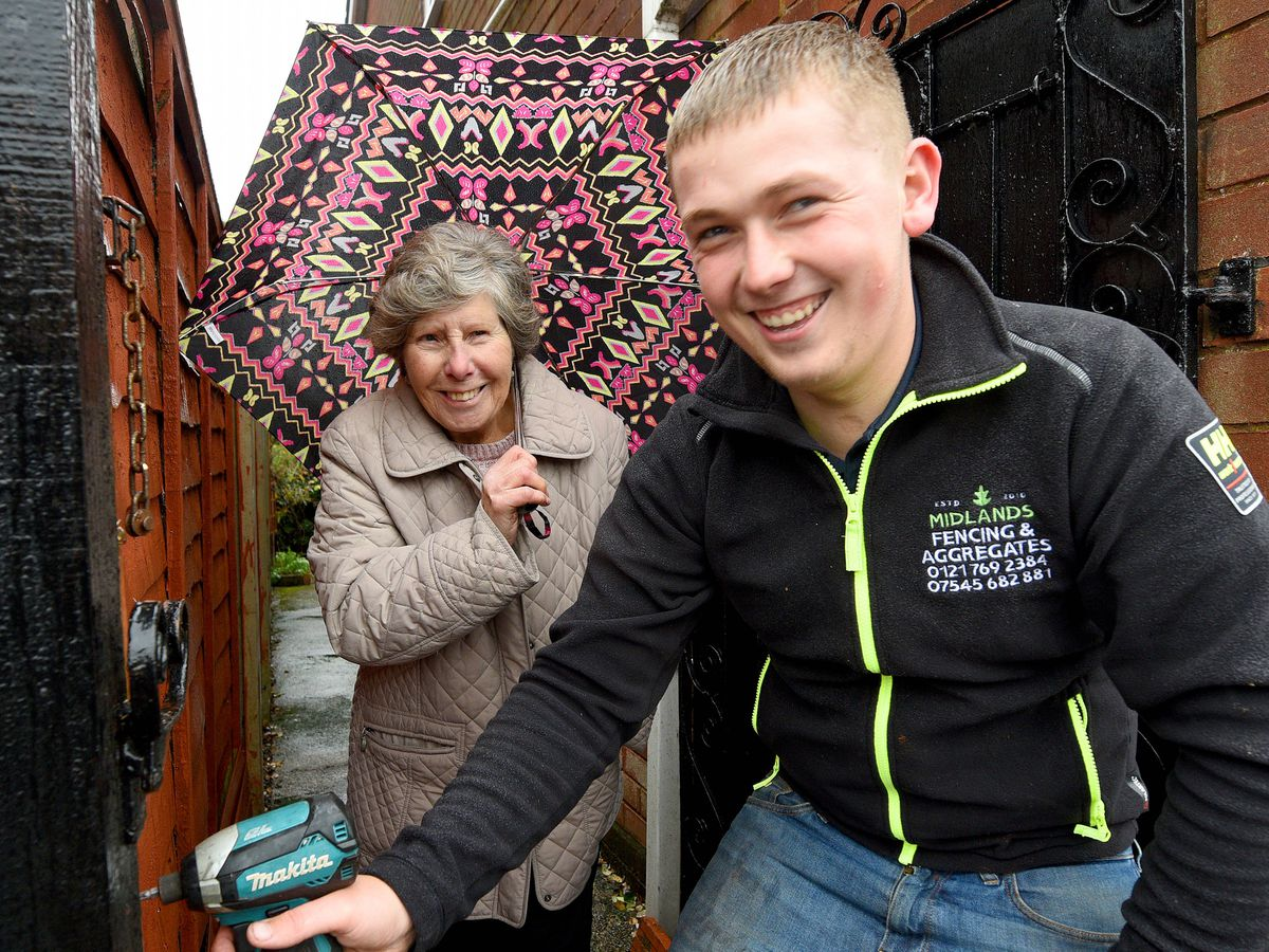 Fencer Jon Horne, aged 22, with neighbour Pat Pressey