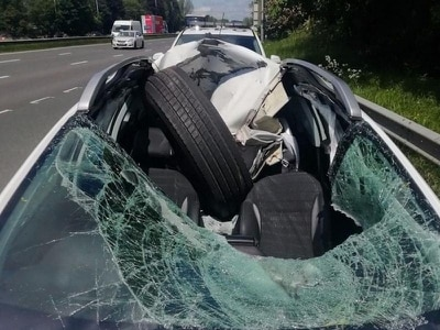 M6 driver has lucky escape as loose HGV wheel bounces into car