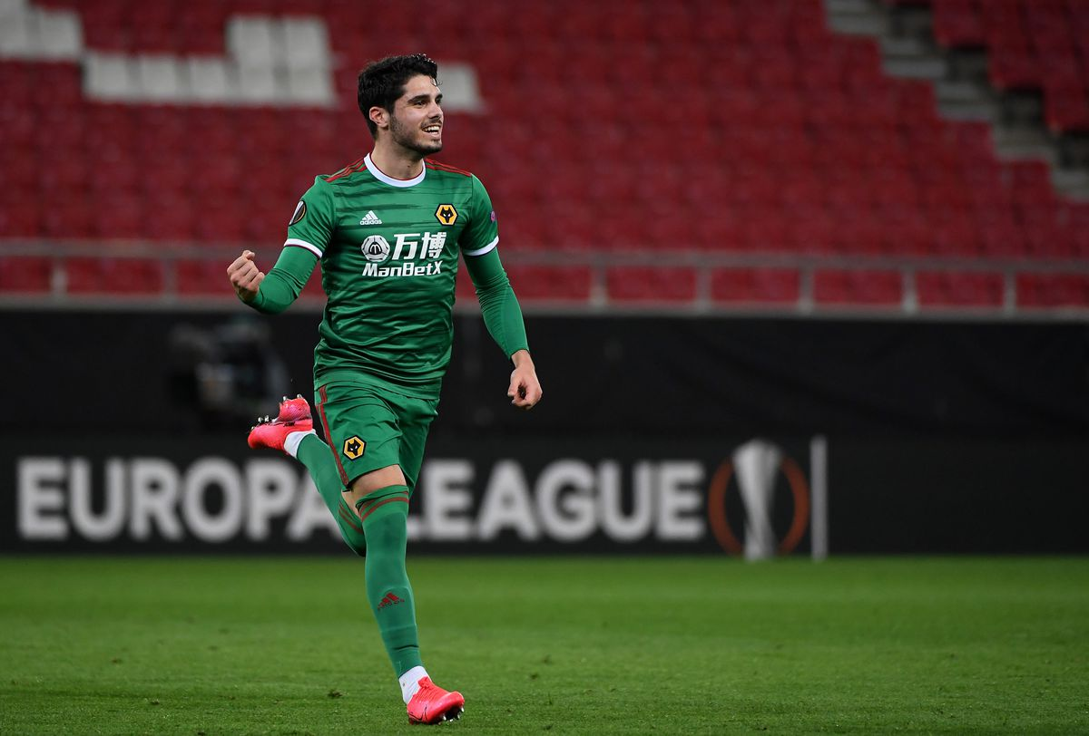 Pedro Neto of Wolverhampton Wanderers celebrates after scoring a goal to make it 1-1. (AMA/Sam Bagnall)