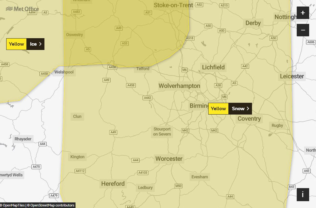Snow and ice warnings have been issued by the Met Office across the region for Wednesday