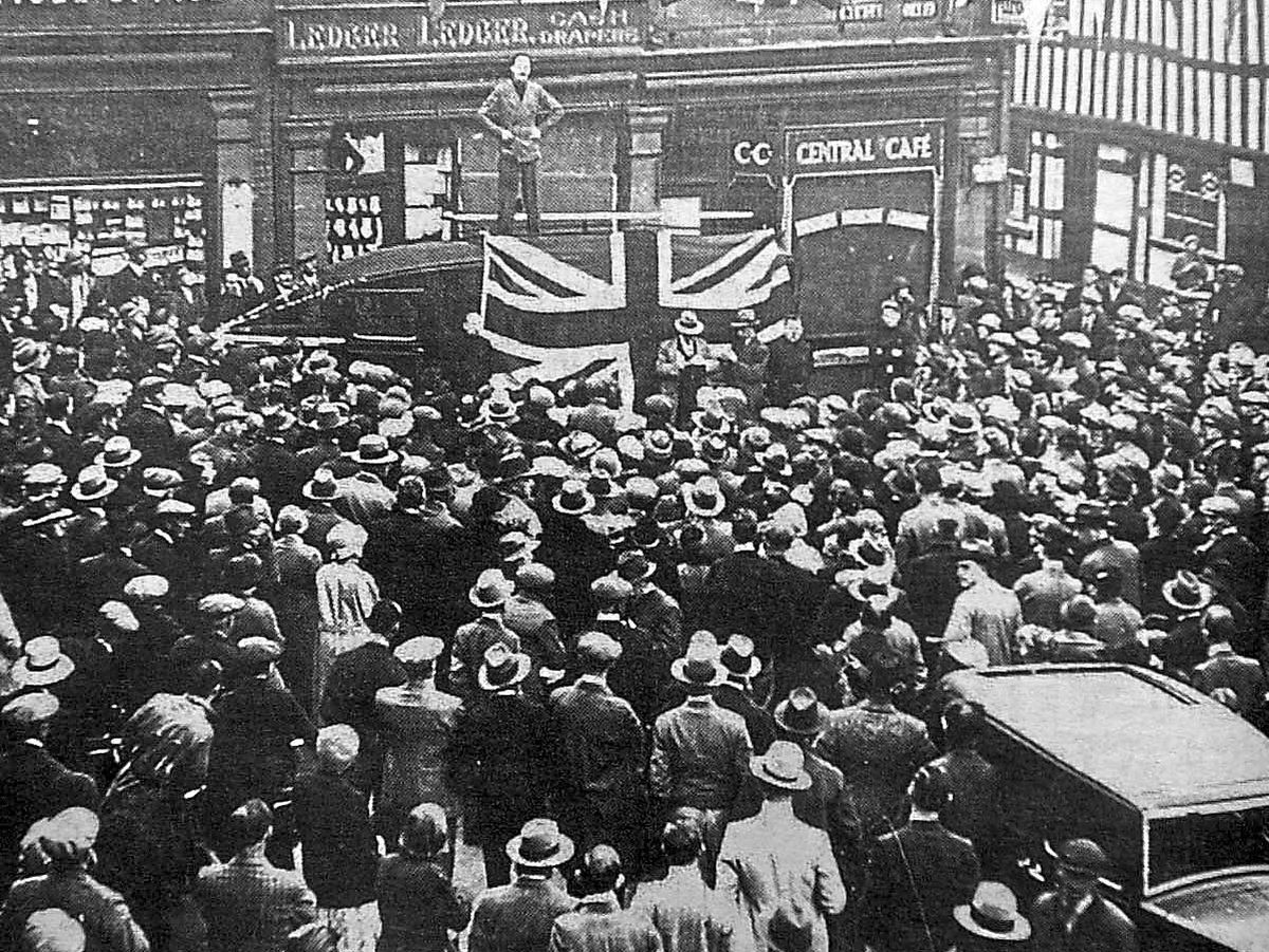 Oswald Mosley addressing crowds in Market Drayton, taken in May 1935 by Leslie Millington, a freelance photographer who did work for the Newport and Market Drayton Advertiser and Shrewsbury Chronicle
