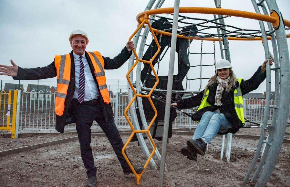 Councillor Beverley Momenabadi, right, with Councillor Steve Evans at the new play area development in Ettingshall, Wolverhampton