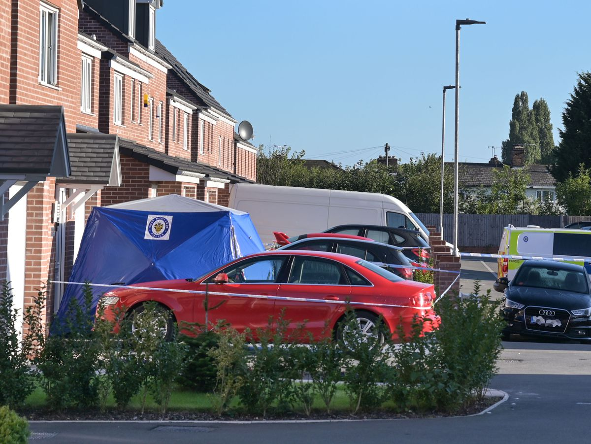 Police at the scene in Tangmere Road. Photo: SnapperSK