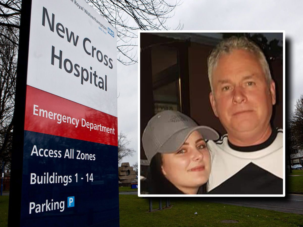 Paul James, pictured inset with daughter Megan, died after collapsing outside New Cross Hospital