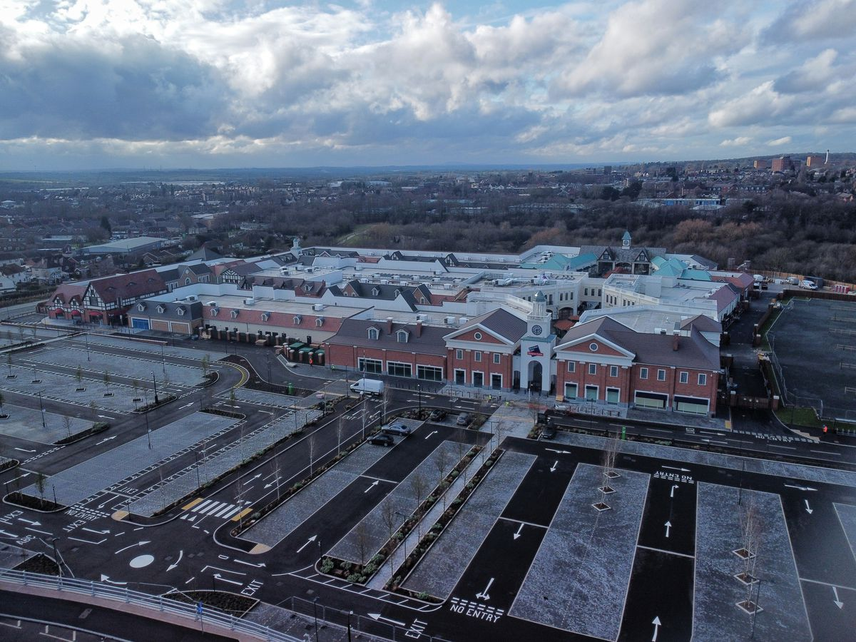 Aerial image showing the progress at the soon to be completed designer outlet shopping desination in Cannock. Pic: Paul Turner of Facebook PTaerialphotography, from Willenhall