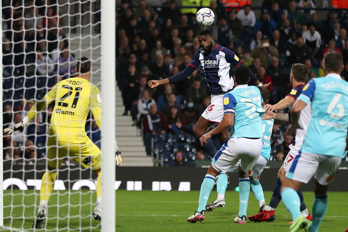 Semi Ajayi of West Bromwich Albion rises high to head the ball (Photo: WBA/Adam Fradgley)