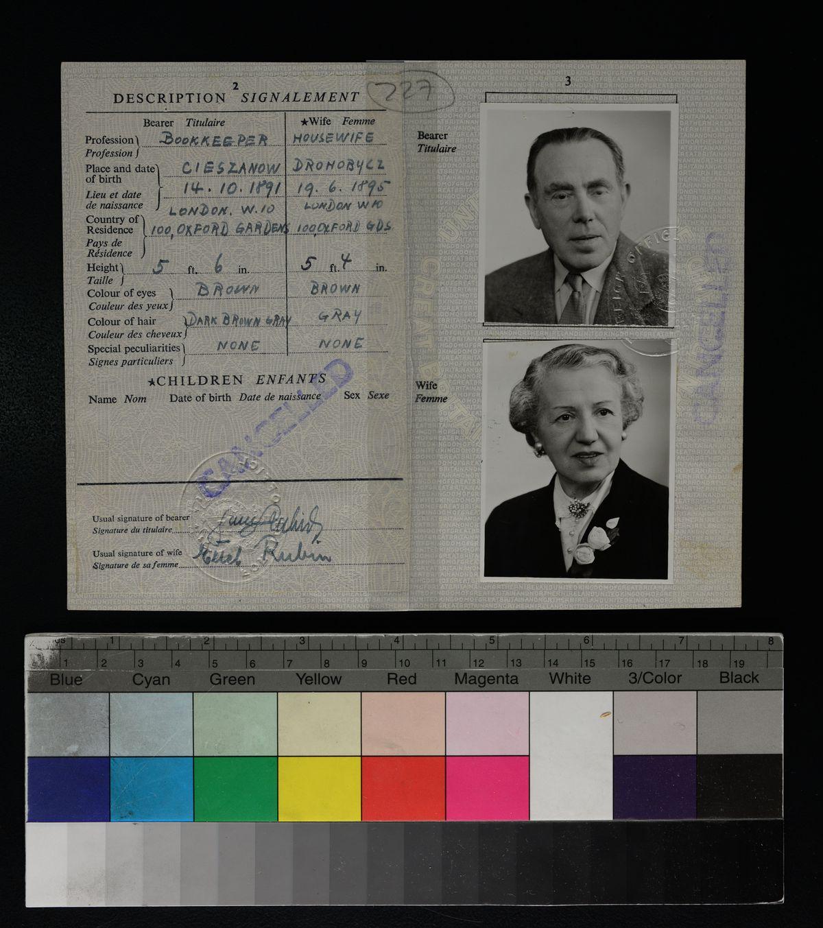Samson and Ettel's British passport [credit Yad Vashem Archives]
