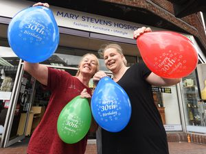 Wendy Efstathiadou and Jade Peasley from Mary Stevens Hospice shop as the hospice celebrates 30 years