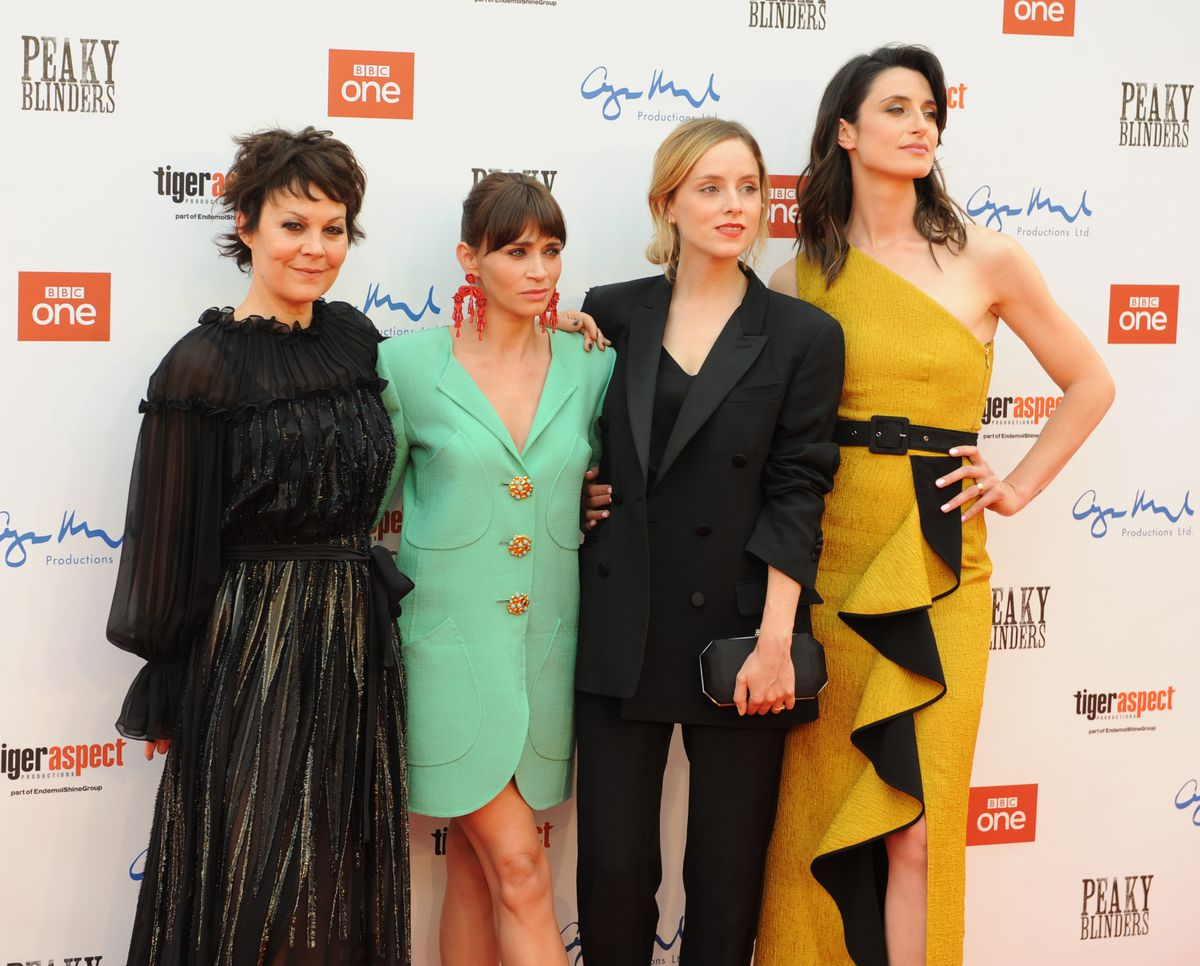Peaky Blinders premiere, Birmingham Town Hall, (left-right) Helen McCrory, Charlene McKenna Sophie Rundle and Natasha O'Keeffe