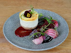 Goat's cheese cheesecake and balsamic beets