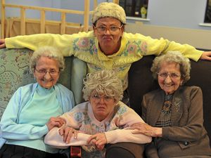 The Tipton Twins with members of comedy group The Fizzogs in 2019