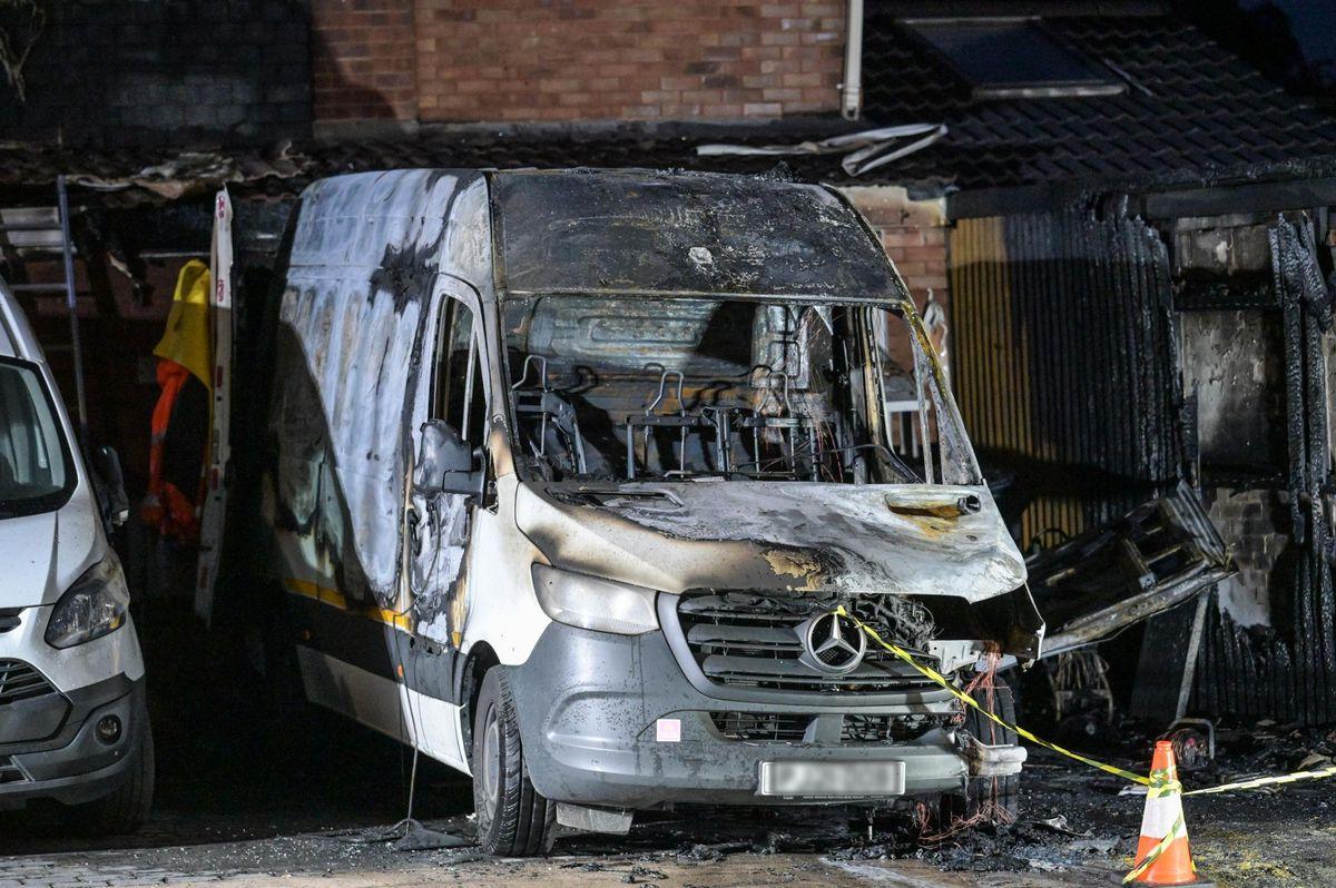 The destroyed van. Photo: Snapper SK