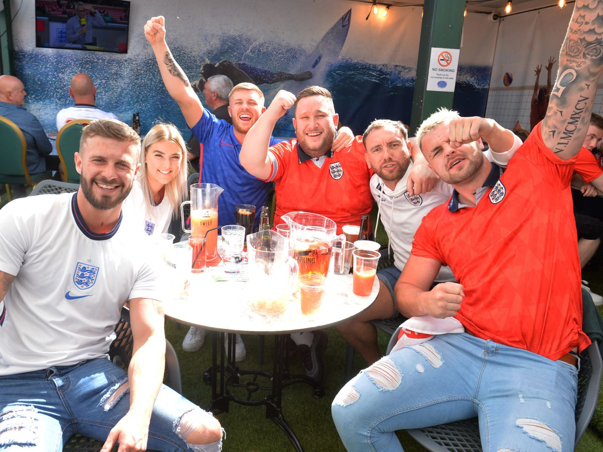 England fans at Bar Sport Cannock which has been busy during the Euros