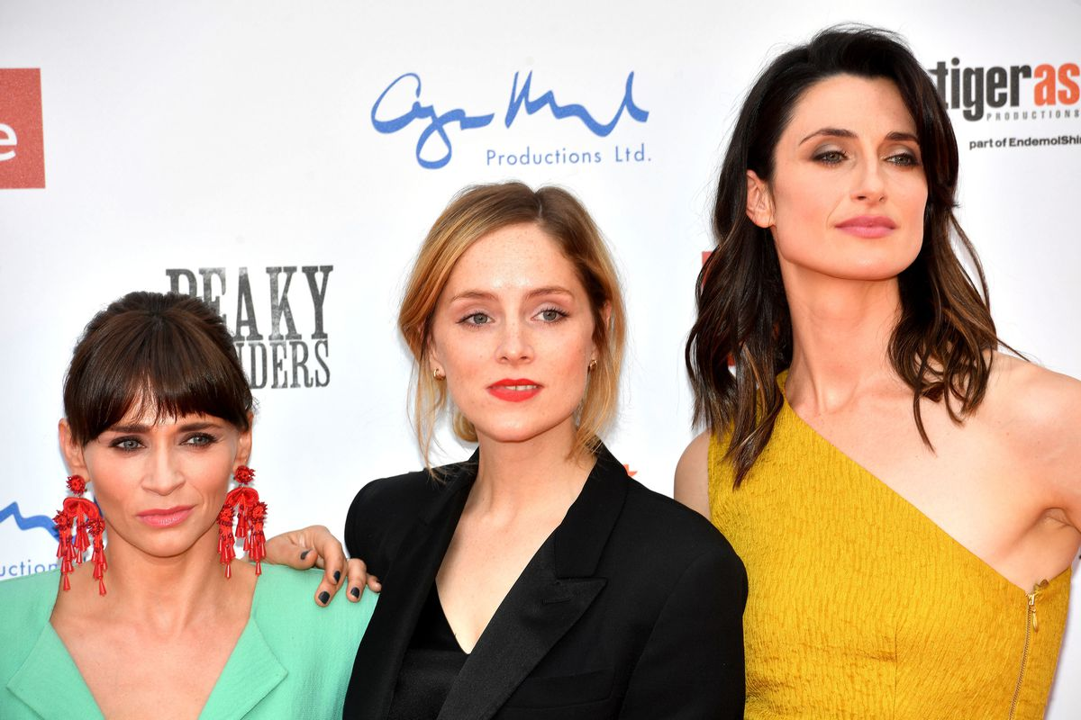 Charlene McKenna (left), Sophie Rundle (centre) and Natasha O'Keeffe (right) attending the Peaky Blinders Series Five World Premiere held at Birmingham Town Hall