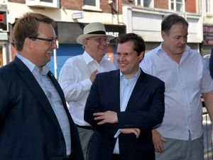 Communities Secretary Robert Jenrick (centre) was given a tour of Brierley Hill High Street last year by Mike Wood MP (left)