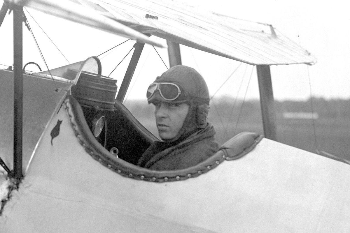 Bert Hinkler in the cockpit of his Avro aircraft