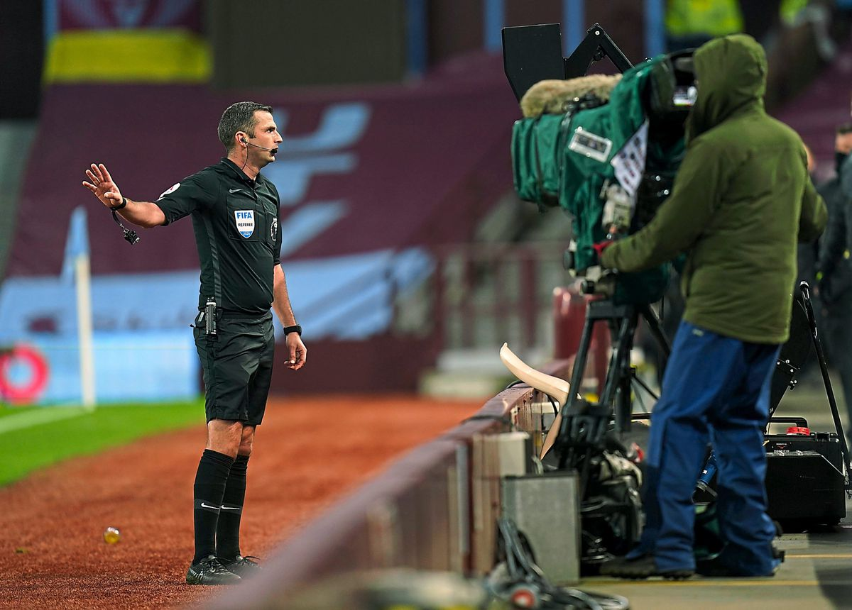 Michael Oliver overturned his own penalty decision at Villa Park