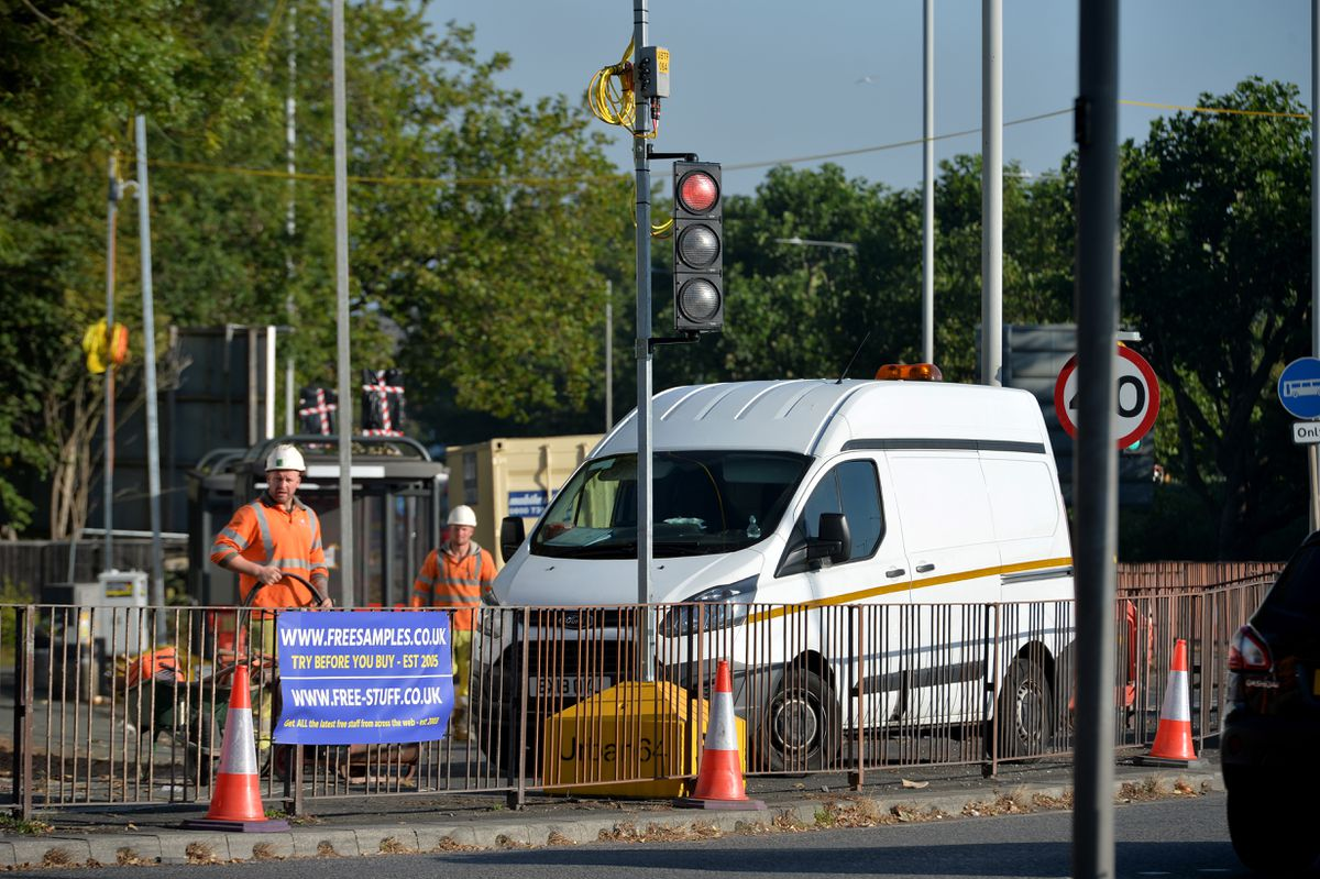 Temporary traffic lights at Castle Gate Island in Dudley