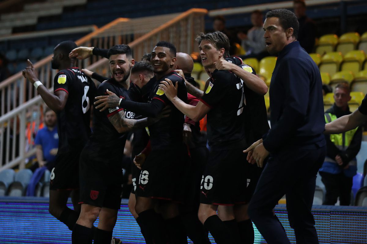 Valerien Ismael Head Coach / Manager of West Bromwich Albion joins in with the players celebrating Semi Ajayi of West Bromwich Albion scoring a goal to make it 0-1 (AMA)