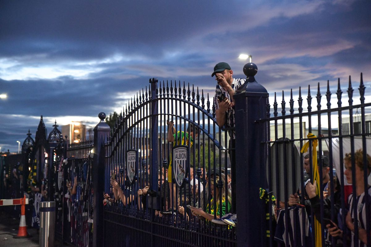 **Number plates may need pixelating/Moving Footage with relevant desk** Pic by SnapperSK - (Pictured: West Bromwich Albion Go mental and storm the grounds as players celebrate outside The Hawthorns after their 2-2 draw against Queens Park Rangers. Pic taken: 22/07/2020).