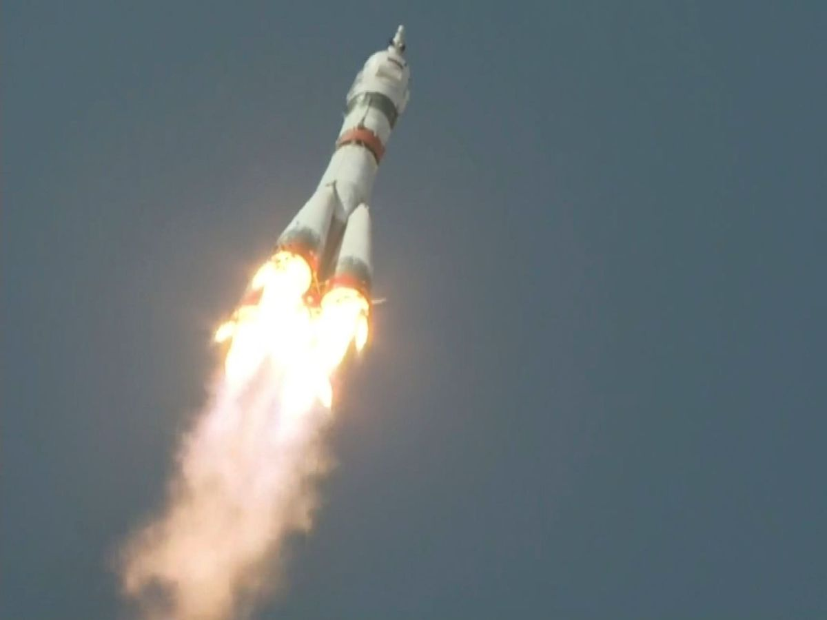 The Soyuz-2.1a rocket booster with Soyuz MS-18 space ship carrying a new crew to the International Space Station flies at the Baikonur cosmodrome, Kazakhstan